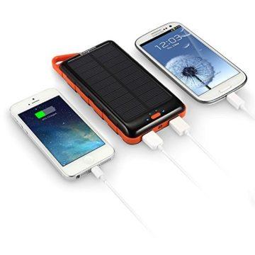 EasyAcc 15000SP Solar Dual USB Power Bank Ladegerät mit externe Akku (15000mAh) für Smartphone/Tablet/Apple iPhone/iPad/iPod schwarz/orange -