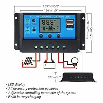 Mohoo Solar Panel Regler Laderegler Intelligente Heim 20A 12V-24V LCD Display Solarladeregler Mit USB -