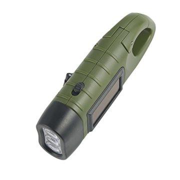 Simpeak LED Taschenlampe Handkurbel Solar Dynamo Karabiner Energie wiederaufladbare Taschenlampe für Camping Klettern Wandern -
