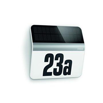 Steinel LED Hausnummern-Leuchte XSolar LH-N edelstahl, Beleuchtete Hausnummer inkl. 1100 mAh Lithium-Ferrum-Akku, Solar Außenwandleuchte mit Dämmerungsschalter und monokristallinem Solar-Panel, 007140 -